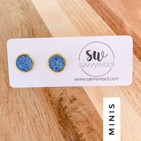 8MM Druzy Earrings - Ocean