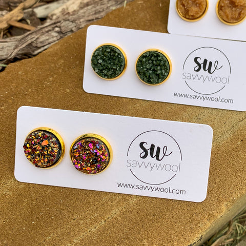 12MM Druzy Earrings - Sunset