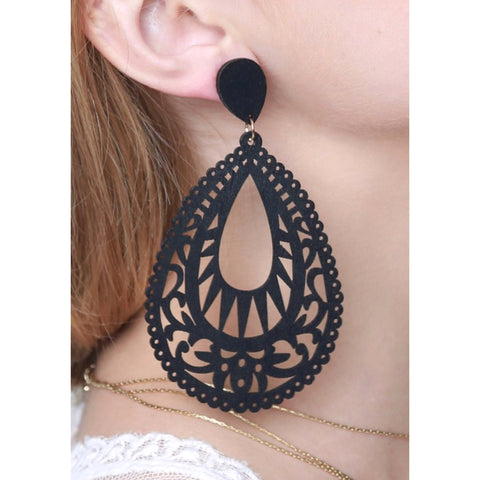 Filigree Dangle Statement Earrings - Black