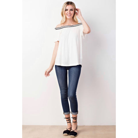 Varsity Off Shoulder Top - B&W