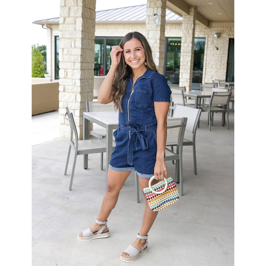 Denim Romper - Indigo