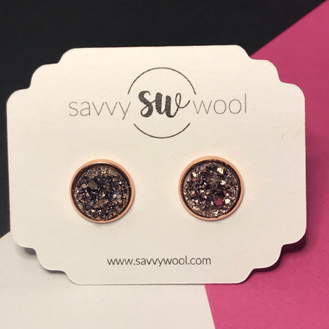 12MM Druzy Earrings - Rose Gold