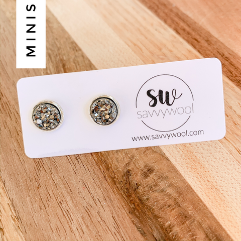 8MM Druzy Earrings - Stardust