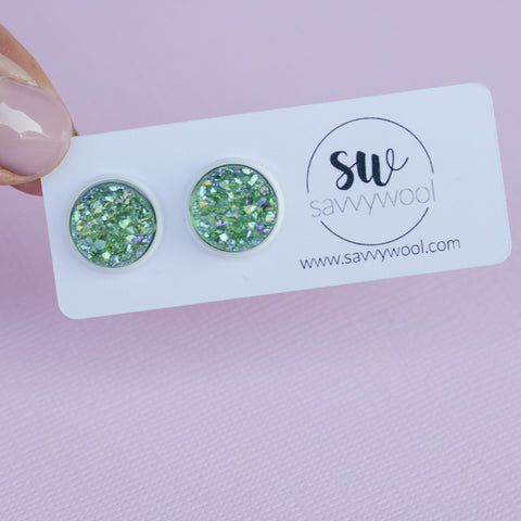 12MM Druzy Earrings - Olive Dusk