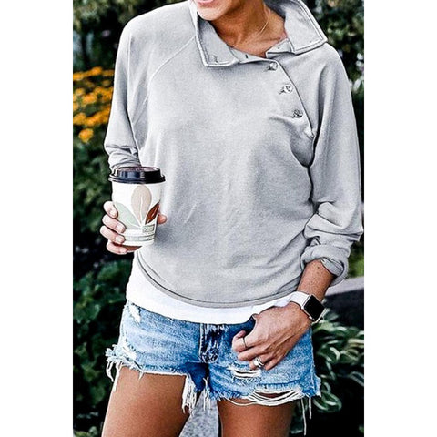 Shoulder Button Down Pullover - Gray