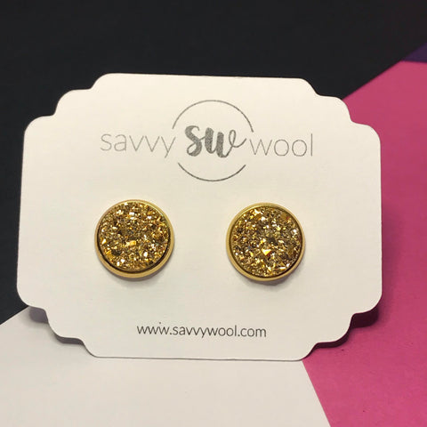 12MM Druzy Earrings - Gold