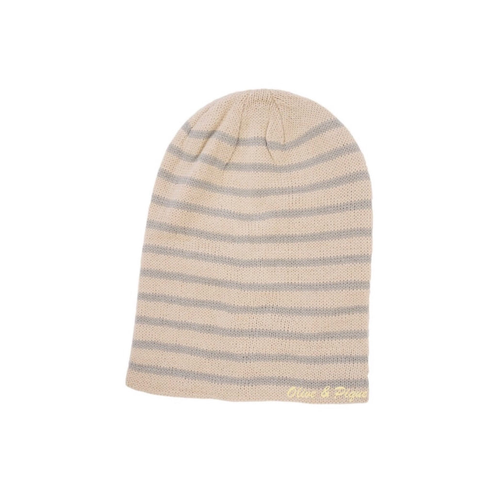 Oatmeal Striped Slouchy Beanie