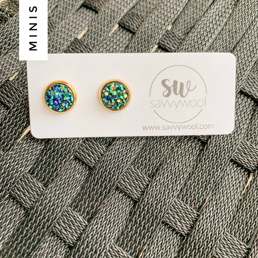 8MM Druzy Earrings - Mermaid 🧜‍♀️