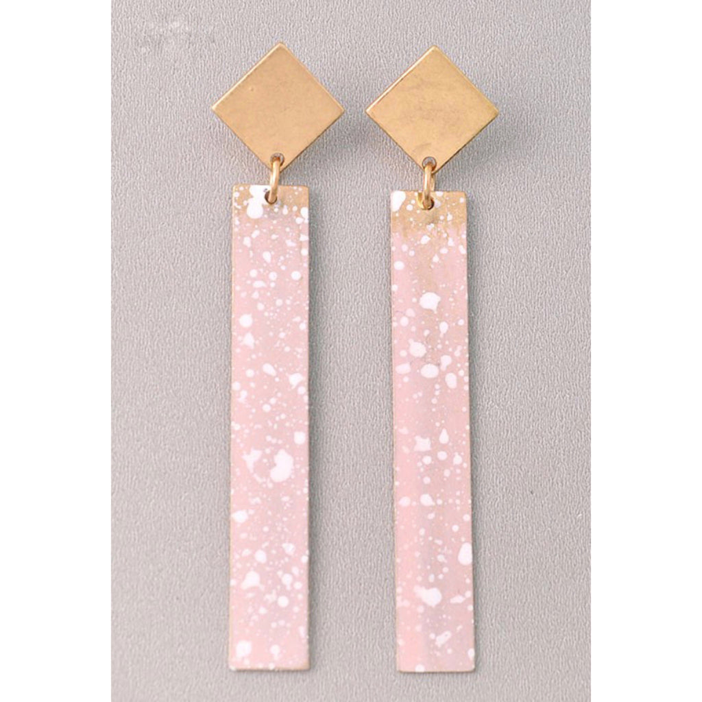 Rectangle Statement Earrings - Blush