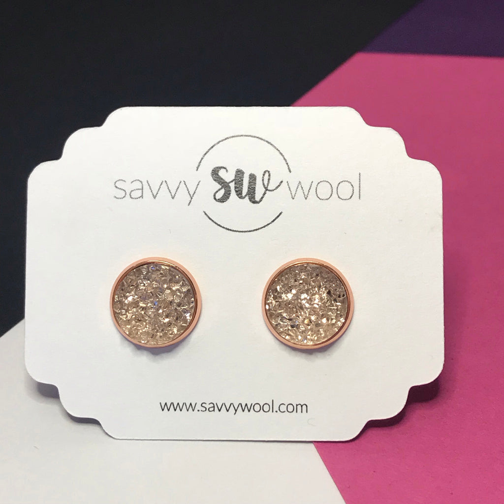 12MM Druzy Earrings - Blush