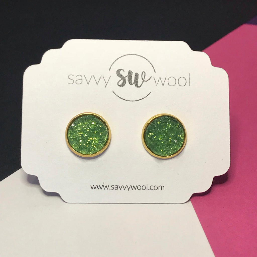 12MM Druzy Earrings - Grass