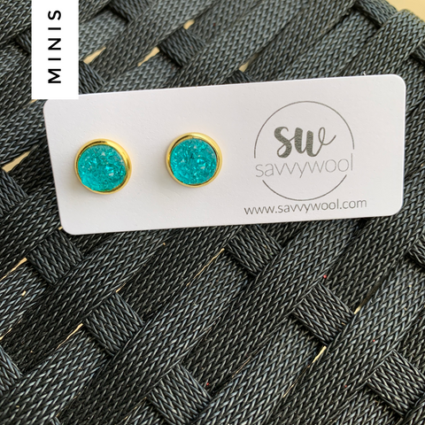 8MM Druzy Earrings - Caribbean