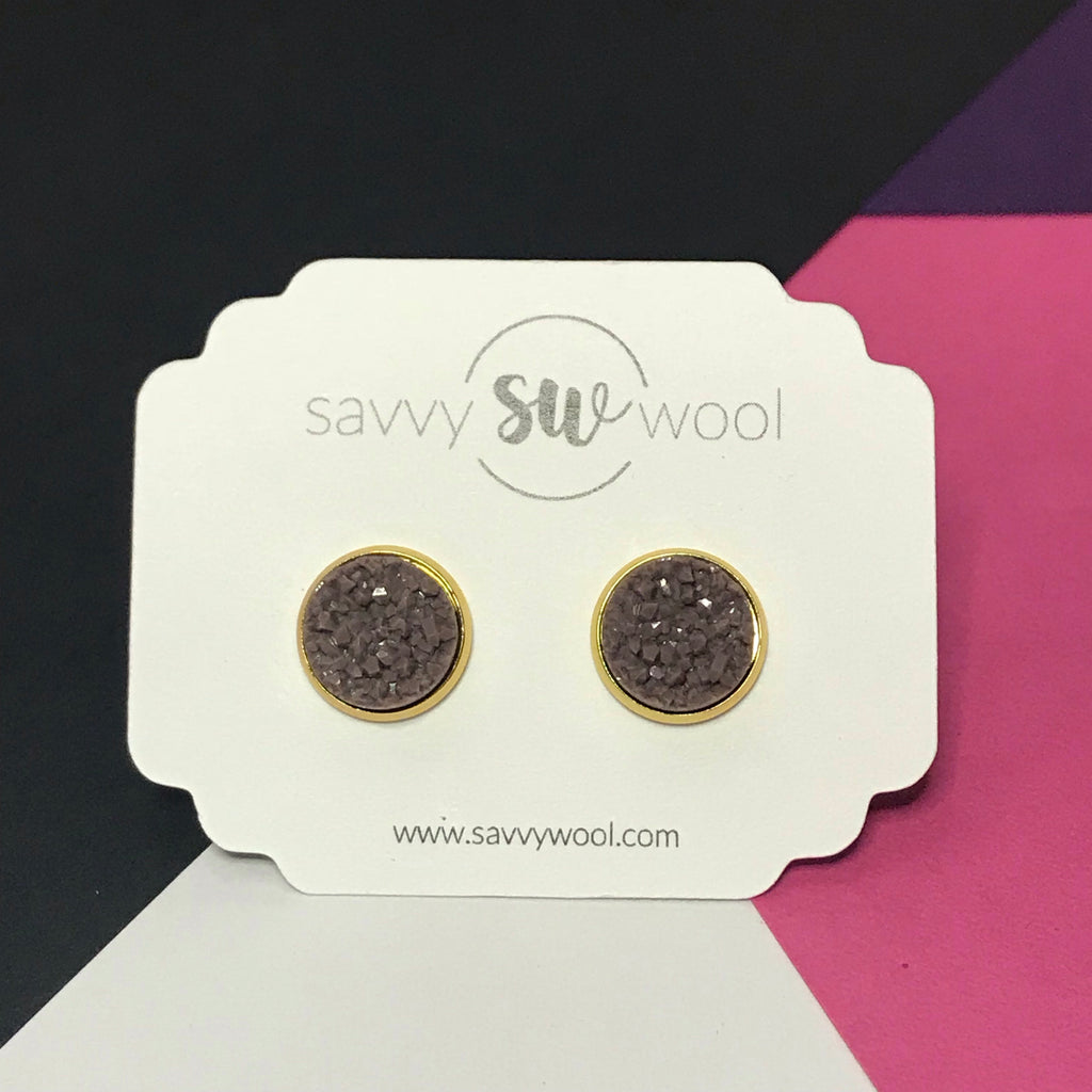 12MM Druzy Earrings -  Chocolate