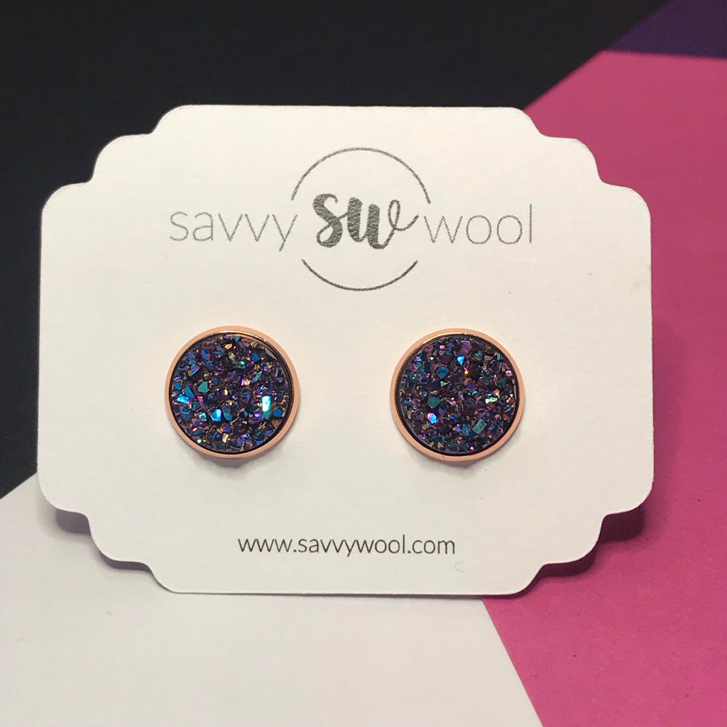12MM Druzy Earrings - Metallic