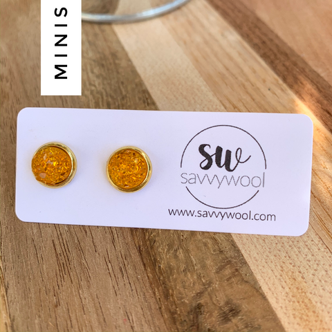 8MM Druzy Earrings - Crystal Amber