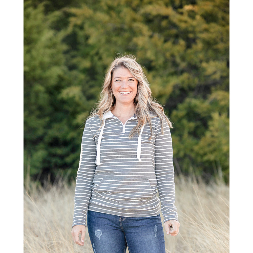 Gray and White Striped Half Zip