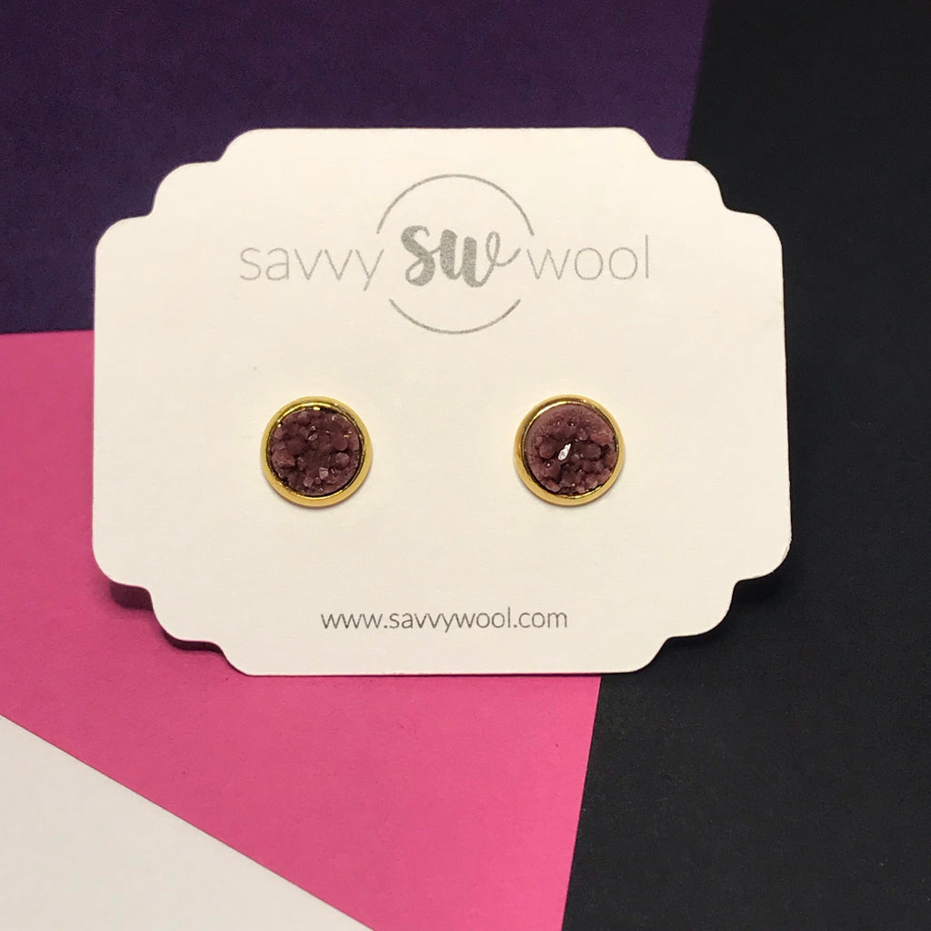"8MM ""Mini"" Druzy Earrings - Sangria"