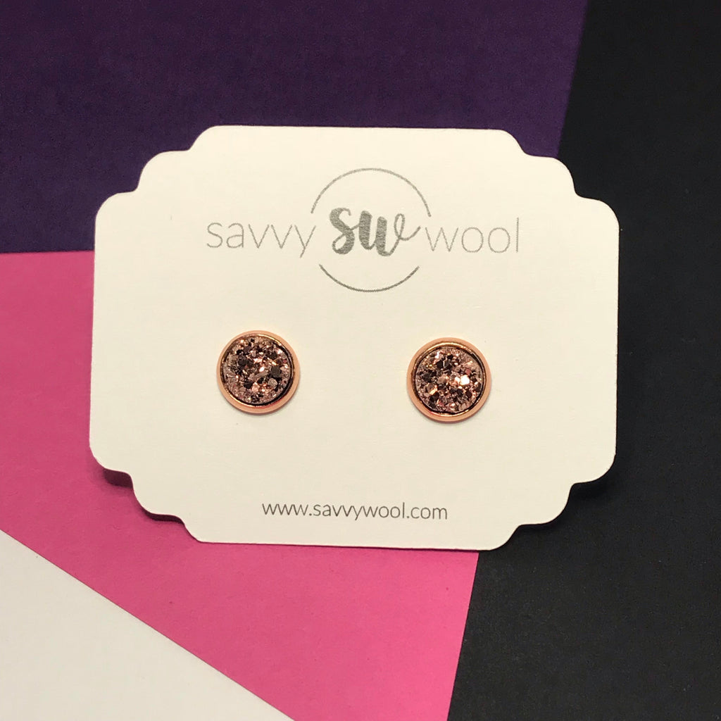 "8MM ""Mini"" Druzy Earrings - Rose Gold"