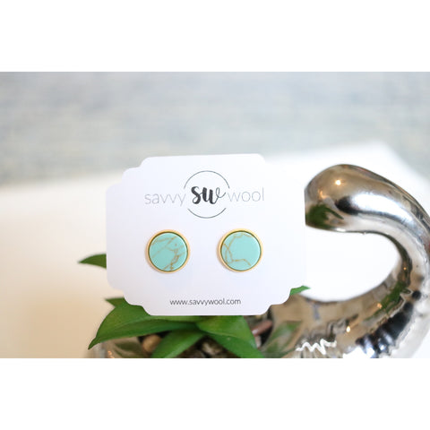 12MM Druzy Earrings - Turquoise