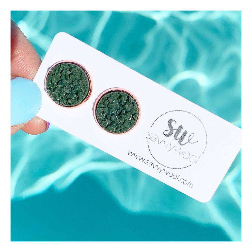 12MM Olive on Rose Druzy Stud Earrings
