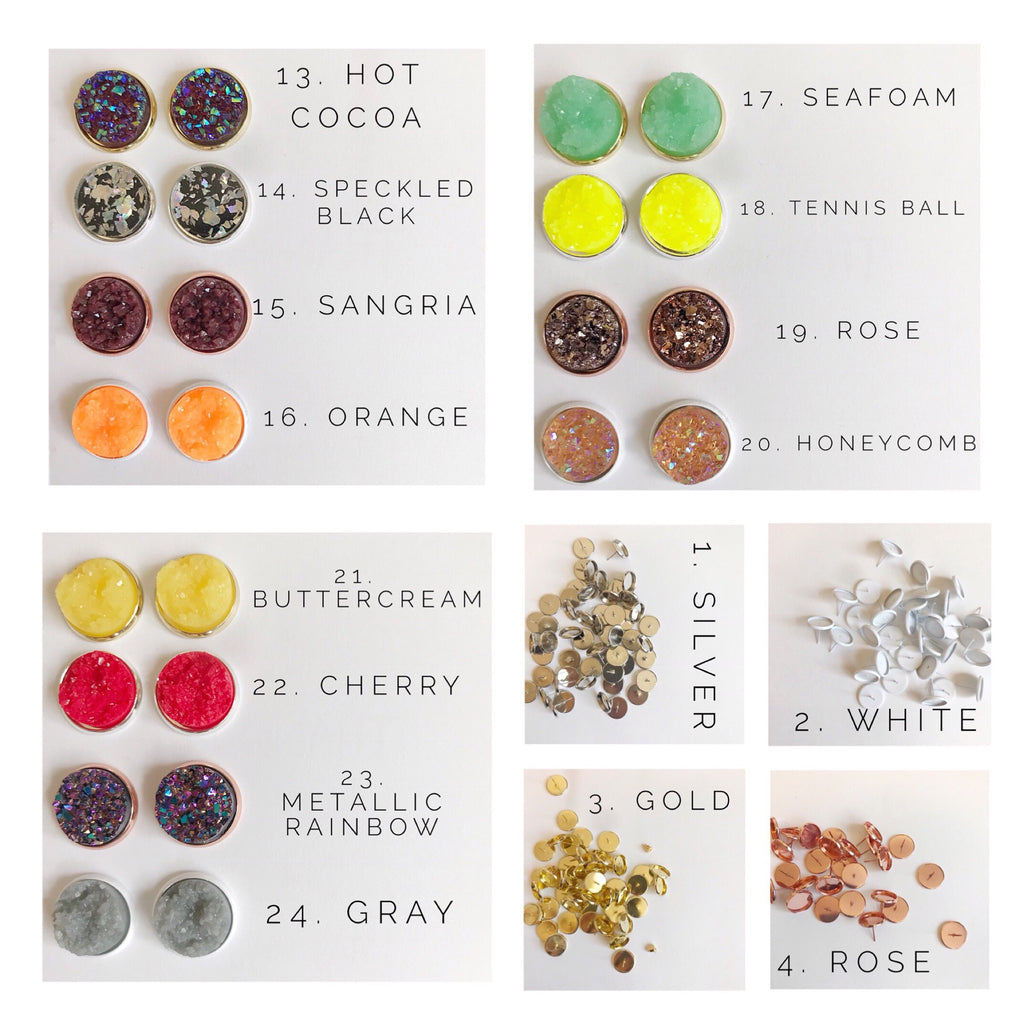 12MM Druzy Earrings Options 13-24