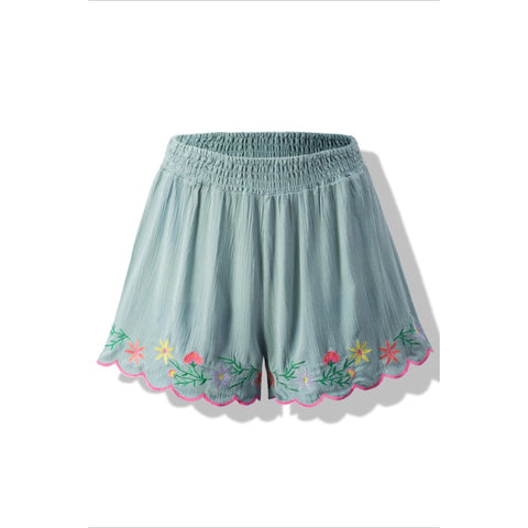 Smocked Embroidered Shorts - sea-foam green