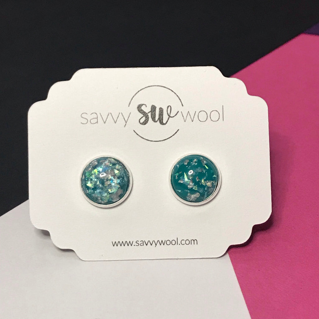 12MM Druzy Earrings - Turquoise Shimmer