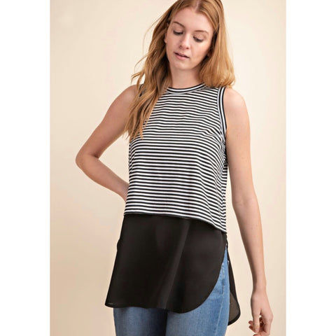 MIXED SLEEVELESS KNIT TOP - B&W