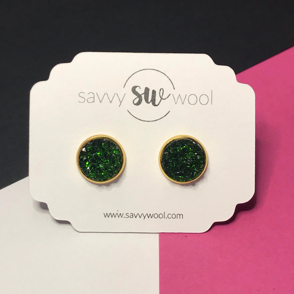 12MM Druzy Earrings - Evergreen