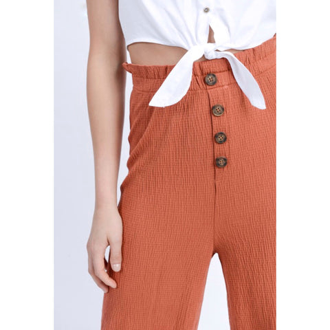 Ruffled High Waisted Crinkle Pants - Brick