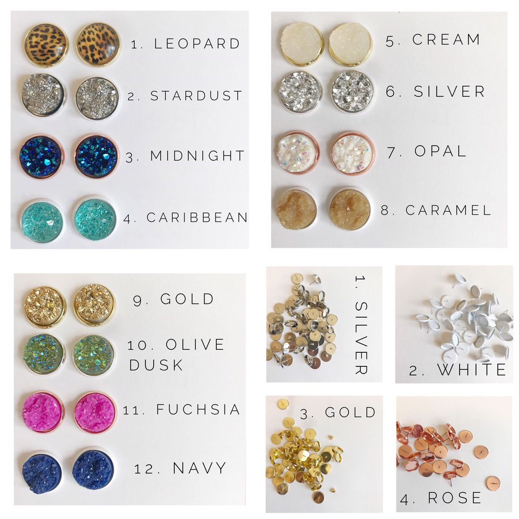 12MM Druzy Earrings Options 1-12