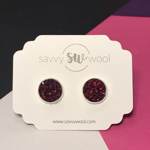12MM Druzy Earrings - Garnet