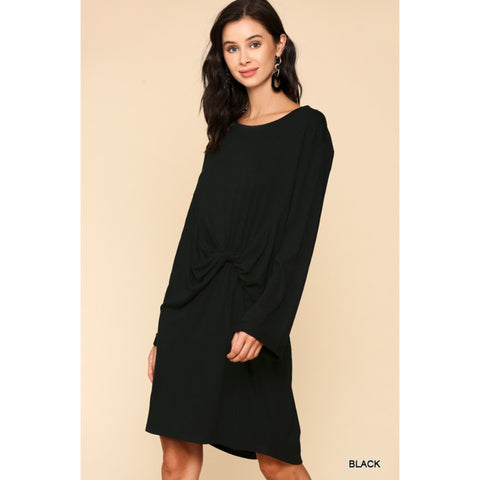 Fall Tee Shirt Dress - Black