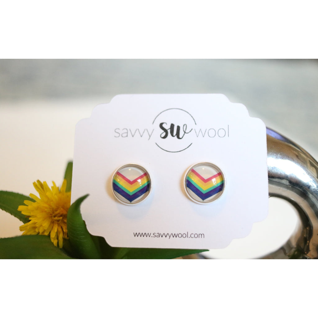 12MM Druzy Earrings - Chevron Rainbow