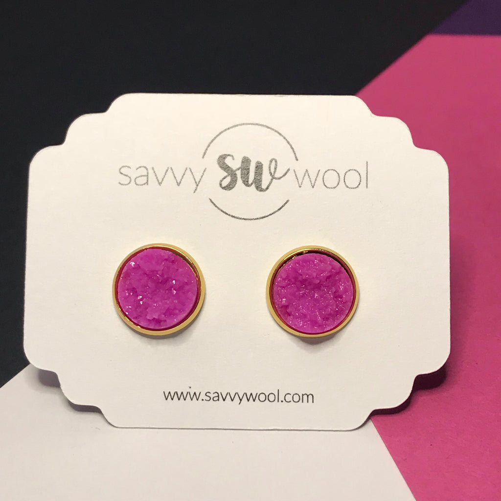 12MM Druzy Earrings - Fuschia