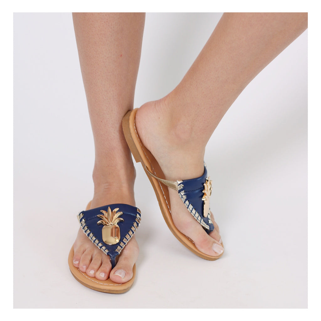 Pineapple Flip Flops - Navy