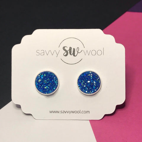 12MM Druzy Earrings - Mykonos