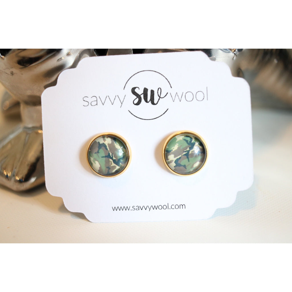 12MM Druzy Earrings - Camo