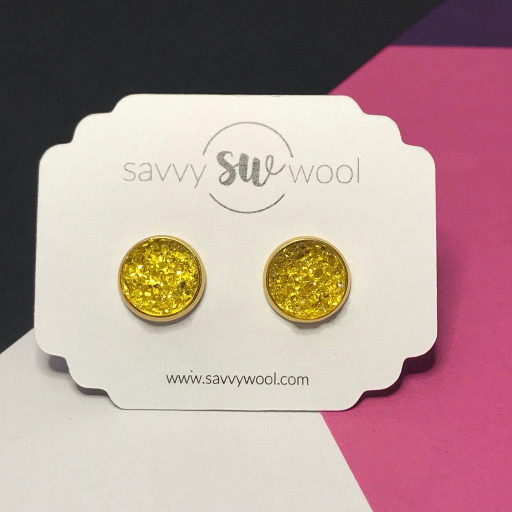 12MM Druzy Earrings - Crystal Lemon