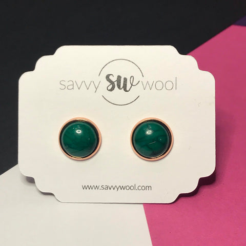 12MM Druzy Earrings - Emerald