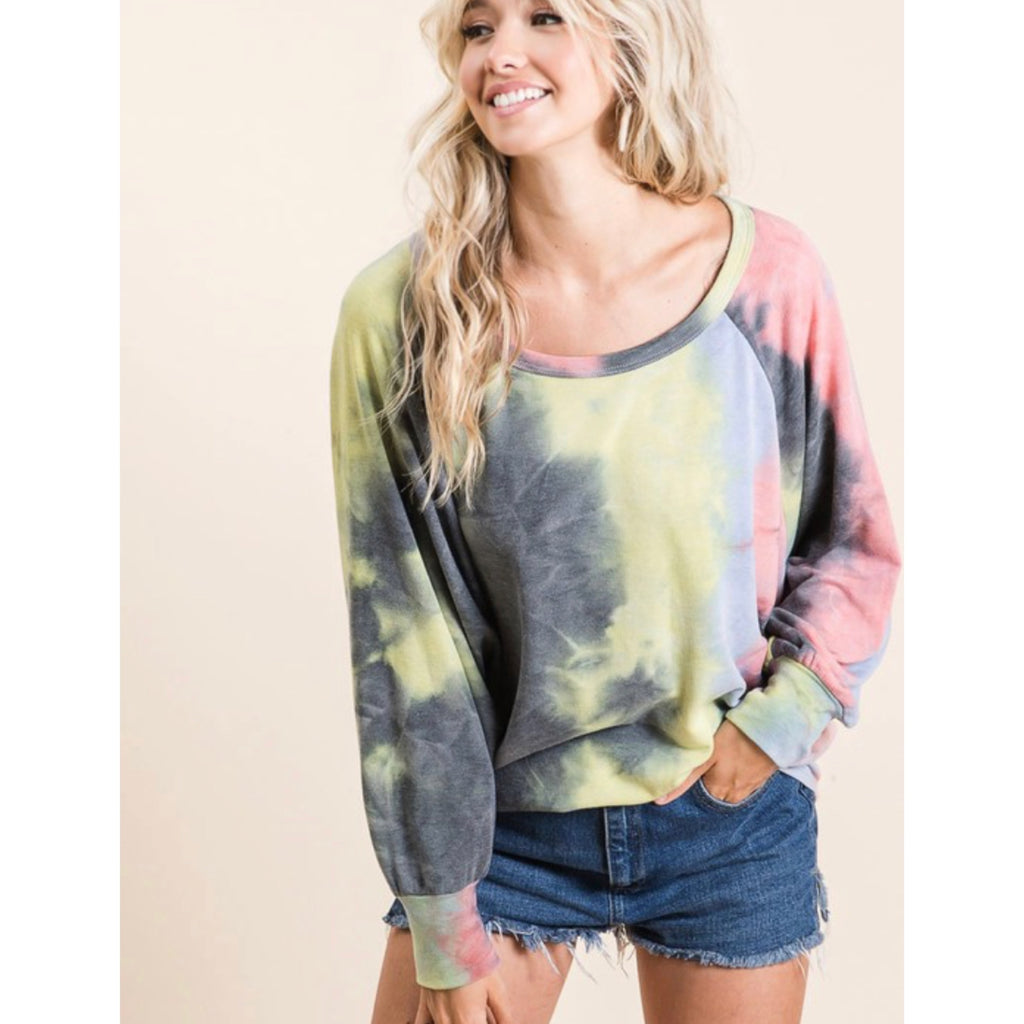 Tie Dye Pull Over - Pink/Yellow