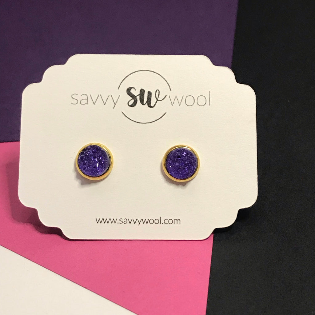 "8MM ""Mini"" Druzy Earrings - Hot Purple"