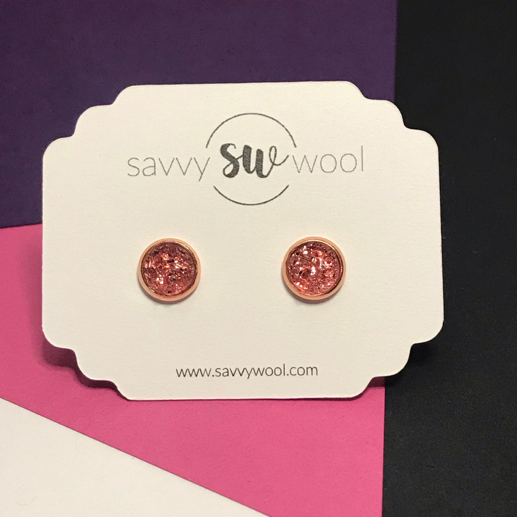 "8MM ""Mini"" Druzy Earrings - Strawberry"