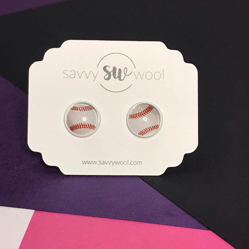 12MM Druzy Earrings -  Baseball