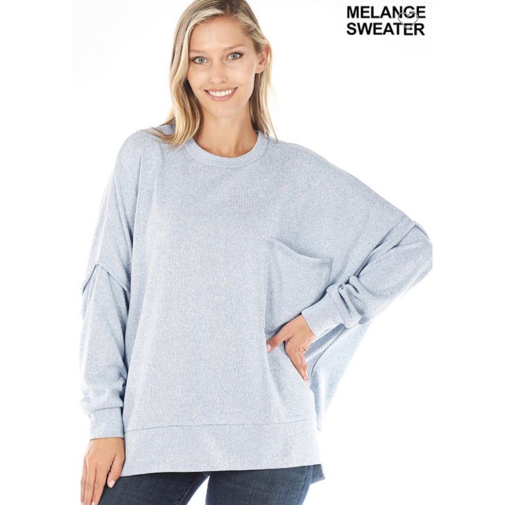 High Low Sweater Top - Ash Blue
