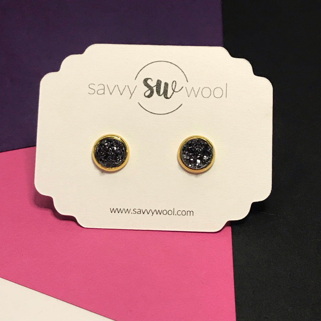 "8MM ""Mini"" Druzy Earrings - Slate"