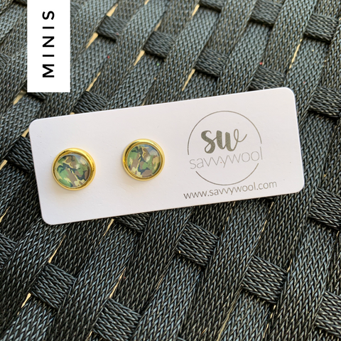 8MM Druzy Earrings - Camo