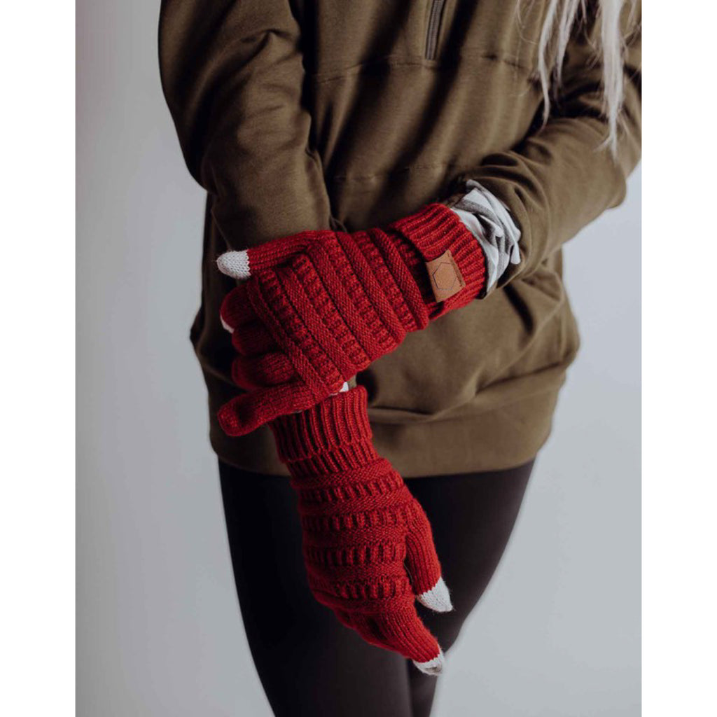 Knit Gloves - Red