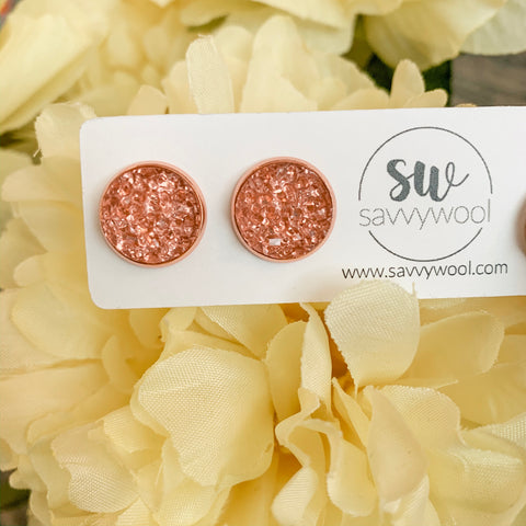 12MM Druzy Earrings - Strawberry Rose