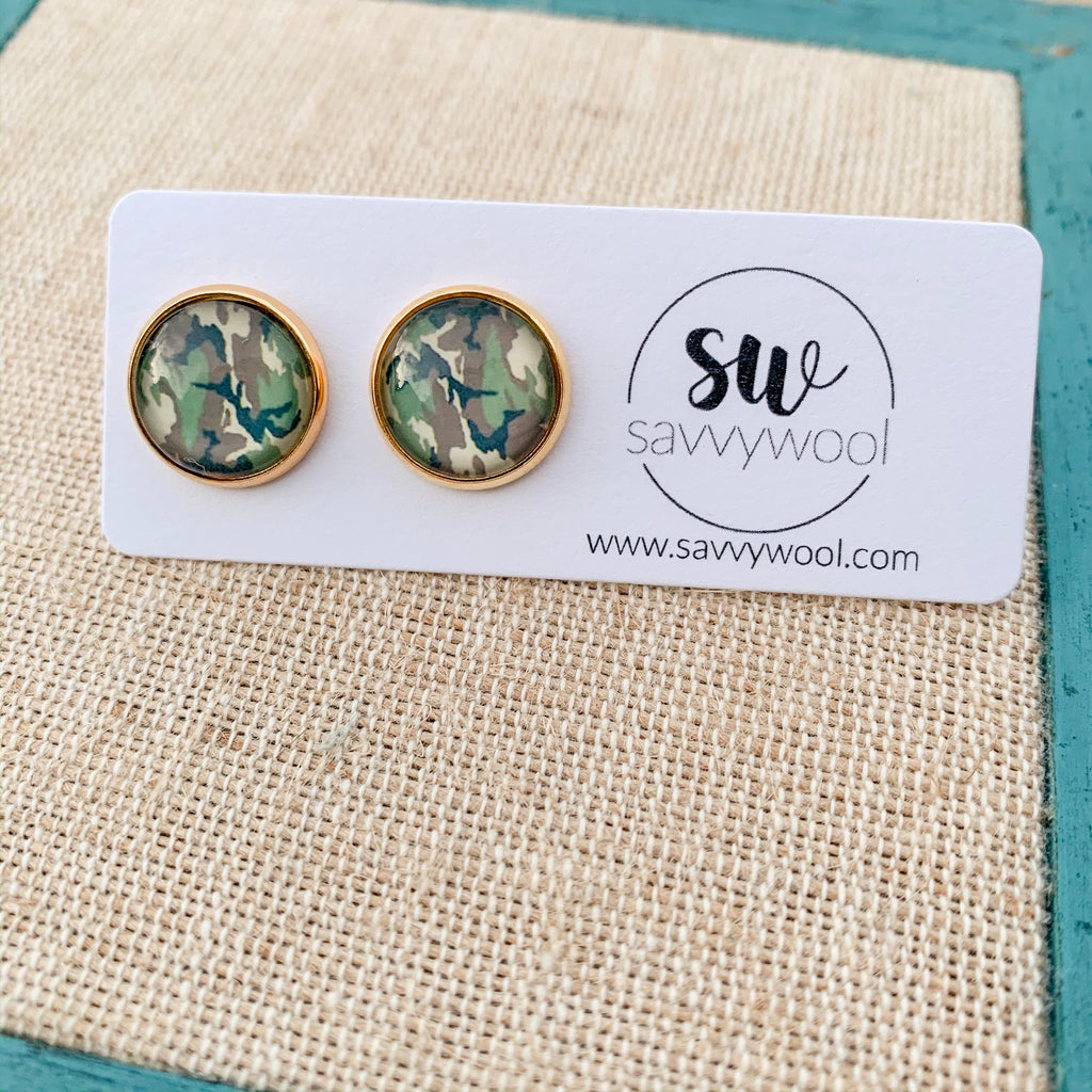 12MM Druzy Earrings - Camouflage